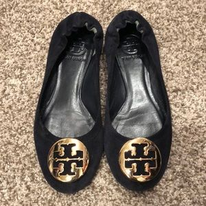 Navy Suede Tory Burch Flats